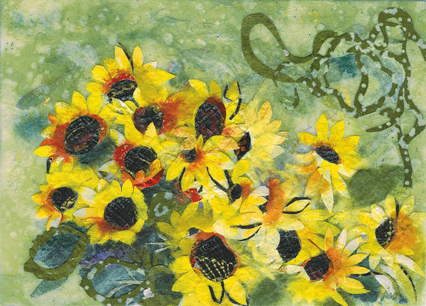 Sunflowers. Yellow Poster featuring the painting New dawn by Nira Schwartz
