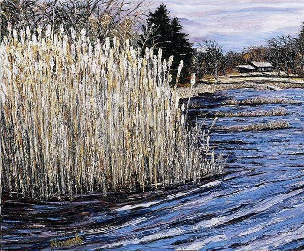 New England Poster featuring the painting New England Pond by Richard Nowak