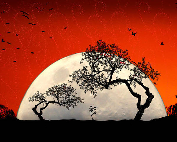 Moon Poster featuring the digital art New Growth New Hope by Holly Kempe