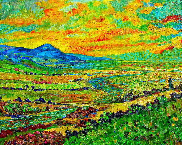 Sunset Poster featuring the painting New Mexican Sunset by Michael Durst