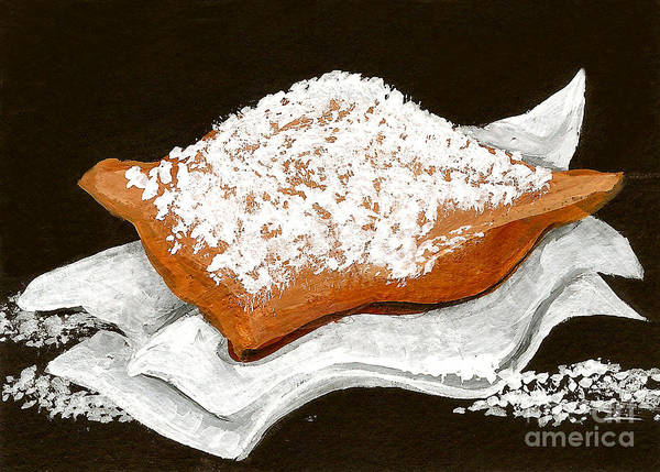New Orleans Poster featuring the painting New Orleans Beignet by Elaine Hodges