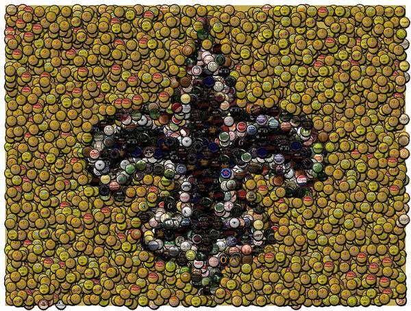No Poster featuring the digital art New Orleans Saints Bottle Cap Mosaic by Paul Van Scott