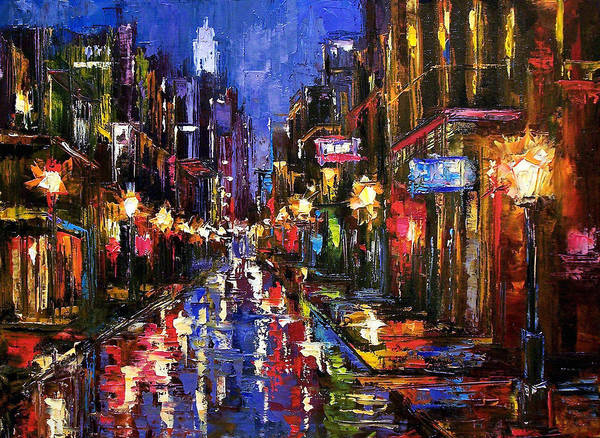 Cityscape Poster featuring the painting New Orleans Storm by Debra Hurd