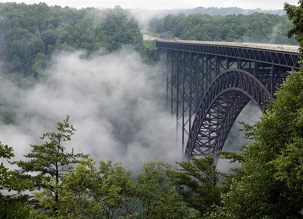 New Poster featuring the photograph New River Gorge Bridge On A Foggy Day In West Virginia by Brendan Reals