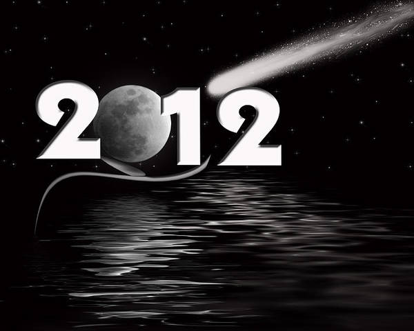 Night Poster featuring the digital art New Year Reflection by Maria Dryfhout