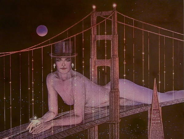Female Poster featuring the painting New Years On The Golden Gate by Gary Kaemmer