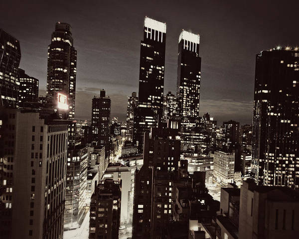 City Poster featuring the photograph New York After Dark by Ariane Moshayedi