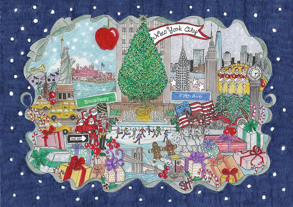 New York City Poster featuring the mixed media New York City Holiday by Stephanie Hessler
