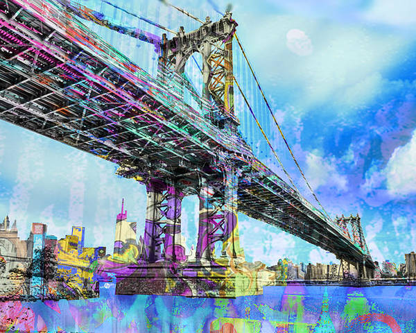 Manhattan Bridge Poster featuring the painting New York City Manhattan Bridge Blue by Tony Rubino