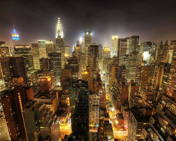 New York City Skyline Poster featuring the photograph New York City Night by Shawn Everhart