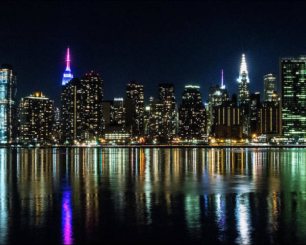 New York City Skyline Nighttime View From Queens Poster By Steven Hlavac