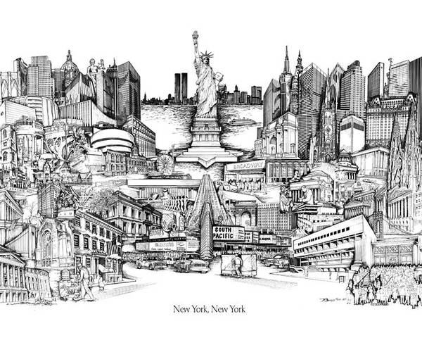 City Drawing Poster featuring the drawing New York by Dennis Bivens