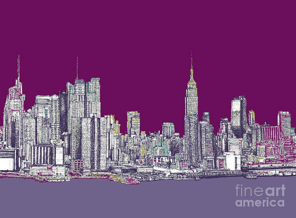 Purple Poster featuring the drawing New York In Purple by Adendorff Design