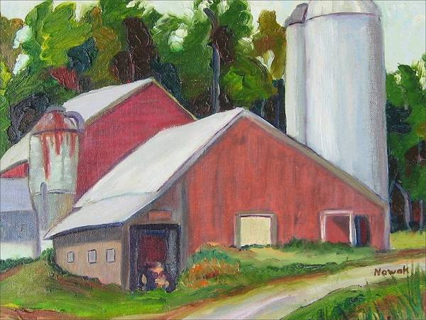 Farm Poster featuring the painting New York State Farm With Silos by Richard Nowak