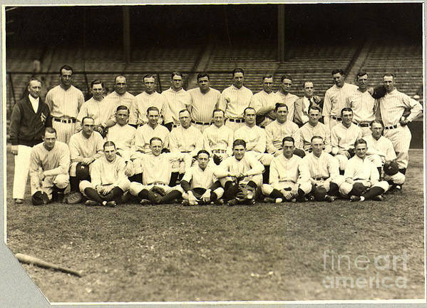 Baseball Poster featuring the photograph New York Yankees Baseball Team Posed by Pg Reproductions
