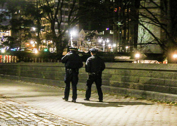 This Is A Photo Of A Pair Of New York City Police Officers Walking The Beat Around Central Park In New York City. Keeping The Morning Joggers Safe. Poster featuring the photograph New Yorks Finest Walking The Beat by William Rogers