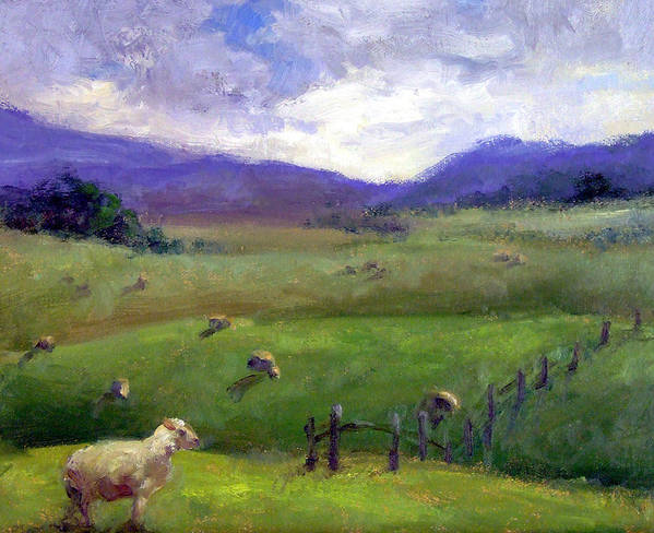 Landscape Painting Poster featuring the print New Zealand Sheep Farm by Michelle Philip