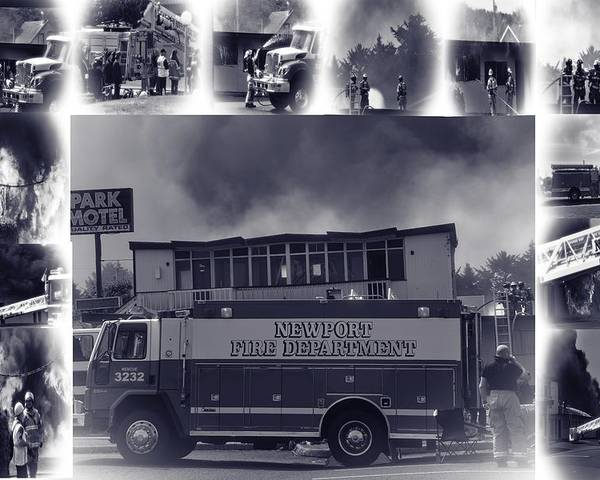Newport Poster featuring the photograph Newport Oregon Fire Department Drill - Practice Fire Drills by Image Takers Photography LLC - Carol Haddon and Laura Morgan