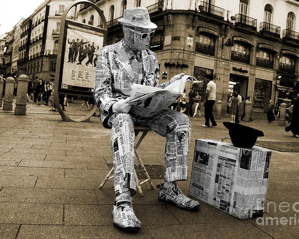 Newspaper Poster featuring the photograph Newspaper Man by Rob Hawkins