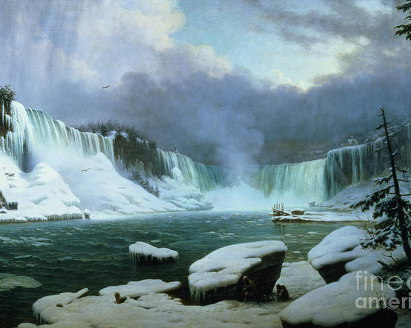 Niagara Falls (oil On Canvas) By Hippolyte Victor Valentin Sebron (1801-79) Poster featuring the painting Niagara Falls by Hippolyte Victor Valentin Sebron