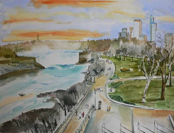 Niagara Poster featuring the painting Niagara In Spring by Geeta Biswas