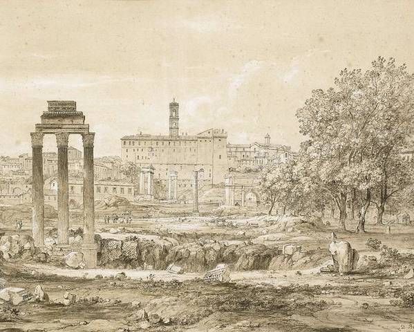 Nature Poster featuring the painting Nicolas-didier Boguet  1755 - 1839  View Of The Roman Forum With The Temple Of Castor by Nicolas-Didier Boguet