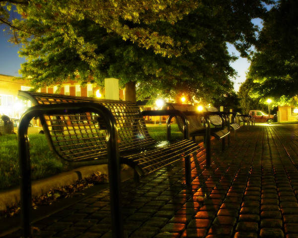 Night Poster featuring the photograph Night Bench by Carl Perry