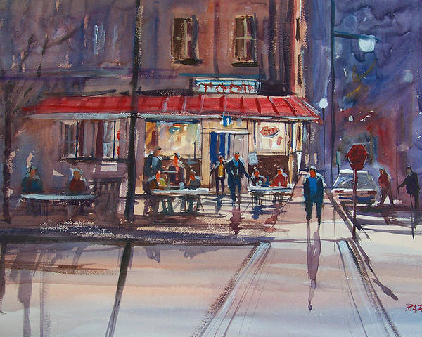 Street Scene Poster featuring the painting Night Cafe by Ryan Radke