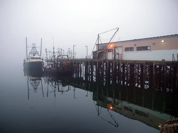 Seascape Poster featuring the photograph Night Fog Along The Dock by Bob Orsillo