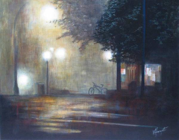 Fog Poster featuring the painting Night Fog by Victoria Heryet