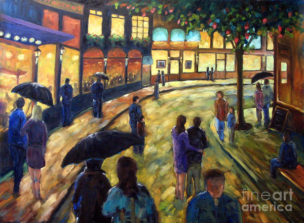 Cityscape Poster featuring the painting Night On The Town by Richard T Pranke