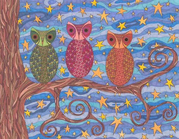 Owls Poster featuring the drawing Night Rainbow by Pamela Schiermeyer