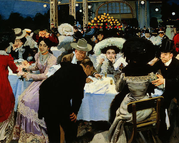 Night Restaurant (oil On Canvas) By M.g Slepyan (fl.1890-1900) Poster featuring the painting Night Restaurant by MG Slepyan