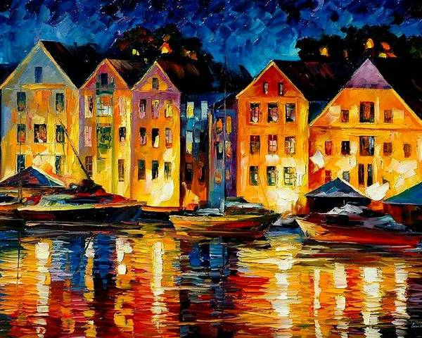 City Poster featuring the painting Night Resting Original Oil Painting by Leonid Afremov