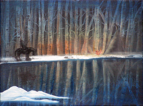 Landscape Poster featuring the painting Night Rider by Mikki Alhart