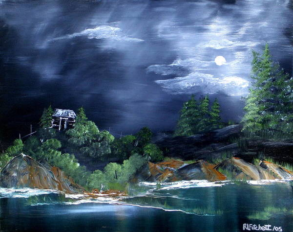 Landscapes Poster featuring the painting Night Sky by Rebecca Fitchett