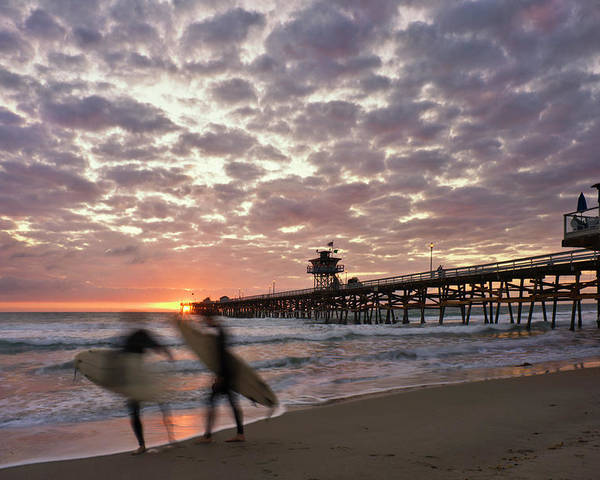 San Clemente Poster featuring the photograph Night Surfing by Gary Zuercher