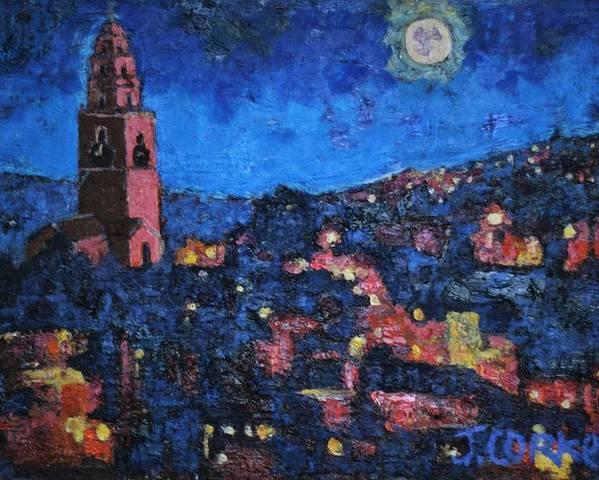 View Of Cork City Under Moon Light Poster featuring the painting Night Time View Of Cork City by John Corkery