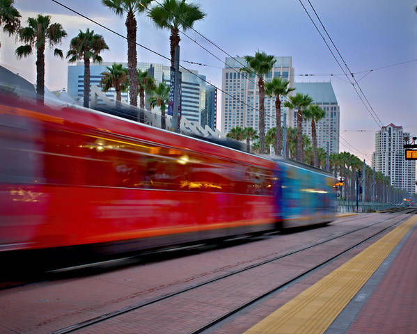 San Diego Trolley Poster featuring the photograph Night Train by See My Photos