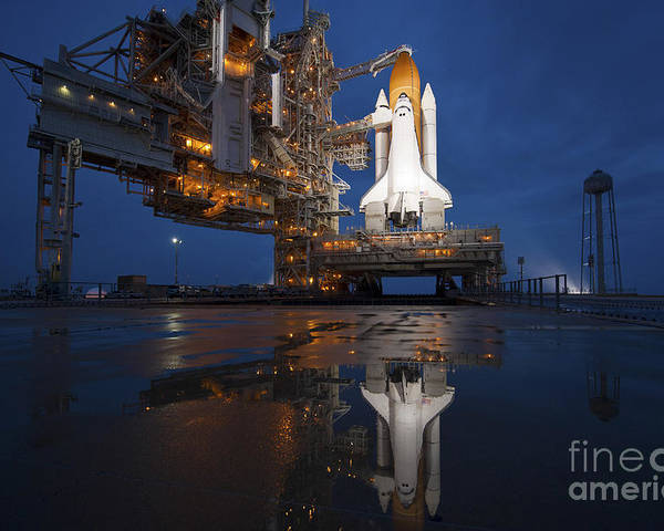 Atlantis Poster featuring the photograph Night View Of Space Shuttle Atlantis by Stocktrek Images