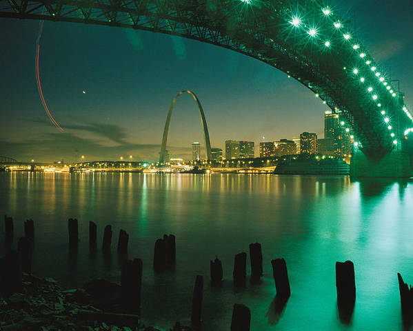 North America Poster featuring the photograph Night View Of St. Louis, Mo by Michael S. Lewis