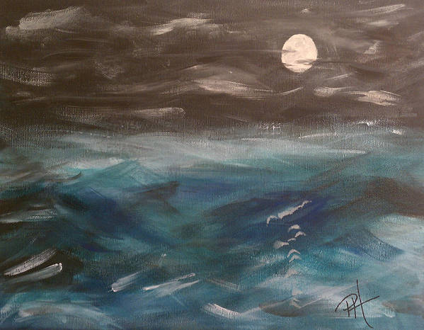 Ocean Poster featuring the painting Night Waves by Patti Spires Hamilton