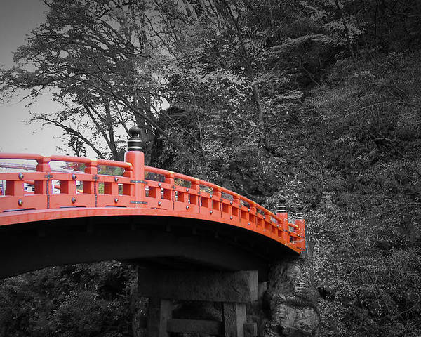 Nikko Poster featuring the photograph Nikko Red Bridge by Naxart Studio
