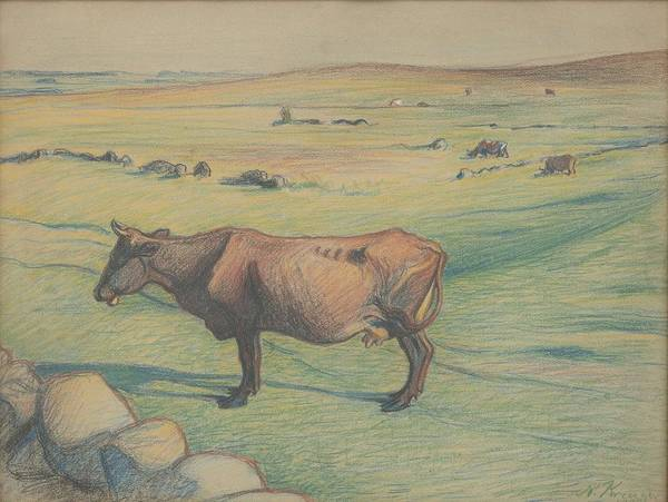 Nature Poster featuring the painting Nils Kreuger, 1858-1930, Cow In The Meadow by Nils Kreuger