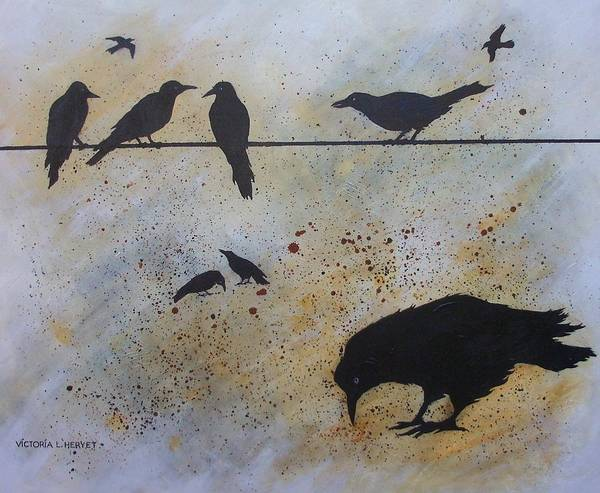 Crows Poster featuring the painting Nine Is A Secret by Victoria Heryet