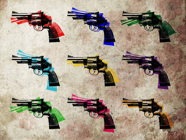 Revolver Poster featuring the digital art Nine Revolvers by Michael Tompsett