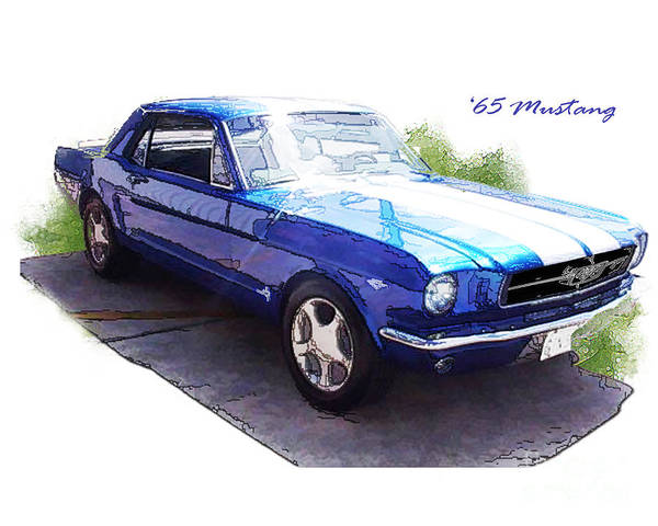 1965 Poster featuring the digital art Nineteen Sixty-five Mustang by Margie Middleton