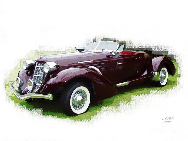 1937 Poster featuring the digital art Nineteen Thirty-seven Auburn Speedster by Margie Middleton