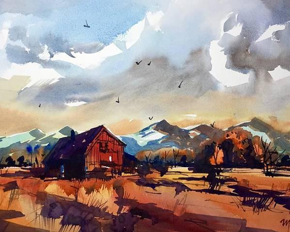 Niwot Boulder Colorado Front Range Landscape Watercolor Poster featuring the painting Niwot Colorado 3 by Ugljesa Janjic