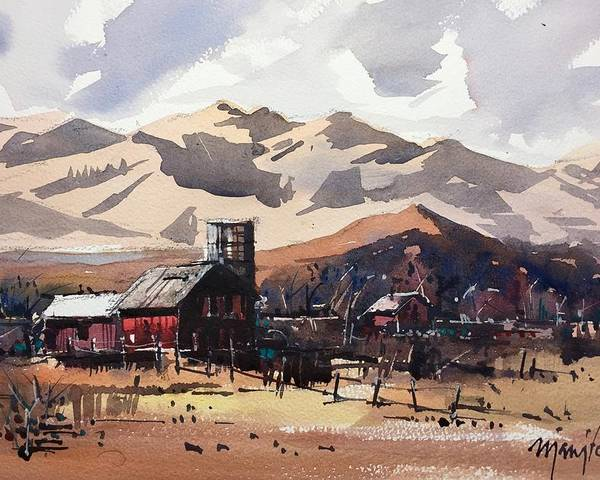 Niwot Boulder Colorado Front Range Landscape Watercolor Poster featuring the painting Niwot Colorado by Ugljesa Janjic